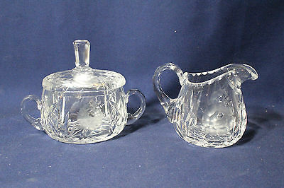 Vintage Leaded Crystal Pressed Glass Flower Creamer and Covered Sugar