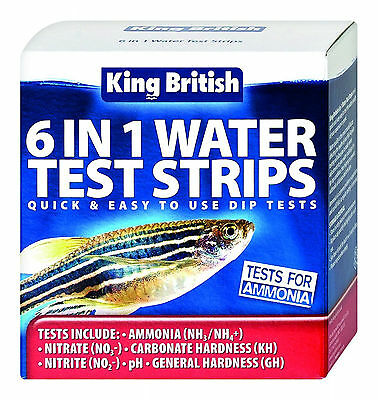 Fish Pets Test Strips for Aquariums and Ponds AMNONIA NITRATE PH AMMONIA GH KH