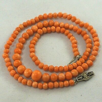 "19"" Antique Vintage Chinese 14k Gold DIAMOND NATURAL SALMON CORAL Bead Necklace"