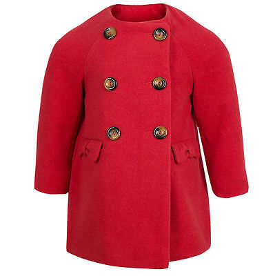 BEAUTIFUL Girls Red Coat  Jacket Soft Touch 9-12 & 18-24 Months Warm Smart