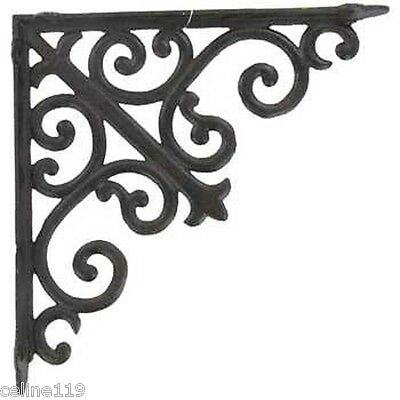 New!!set Of 2-Large Heavy Duty Brown Cast Iron Brackets With Scrolls-10""