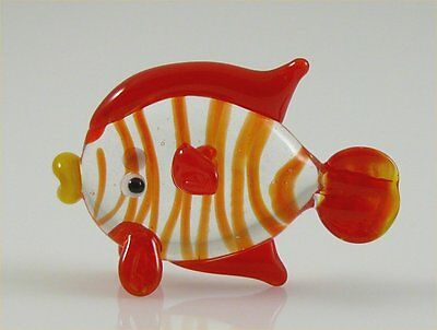 Fish Miniature Glass Figurine Clear,red stripes w/red fins approx 1 inch long