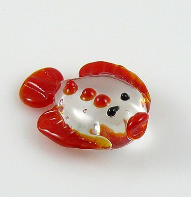 Flounder Miniature Red Figurine Fish Halibut glass approx 1.4 inches long