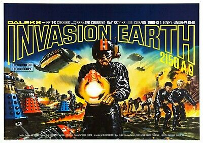 Daleks Invasion Earth 2150 Ad Vintage Movie Poster Film A4 A3 Art Print Cinema