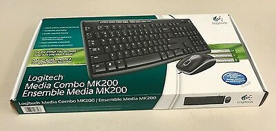 Logitech MK200 Wired Keyboard and Mouse Combo - Black *** NEW ***