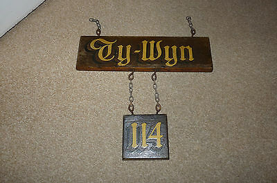Ty-Wyn Vintage House Sign - Also Includes Number 114 - On Hardwood With Chains