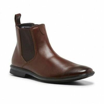 Mens Hush Puppies Chelsea Extra Wide Men's Brown Leather Work Slip On Boots