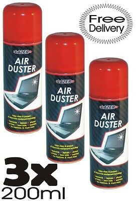 3 X 200ml Compressed Air Duster Cleaner Can Clean Laptop Keyboard Mouse Phones