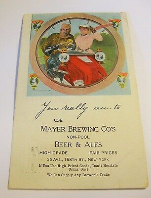 Pre-Prohibition Mayer Brewing Co Beer Postcard Dated 1905 Bronx Ny New York