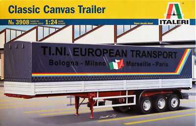 Classic Canvas Trailer Truck Anhänger 1:24 Model Kit Bausatz Italeri 3908