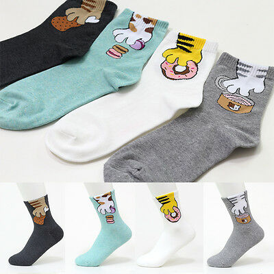 4 Pairs Cute Character Socks Women Boy Girl Big Kid s Casual Ankle Cartoon Socks