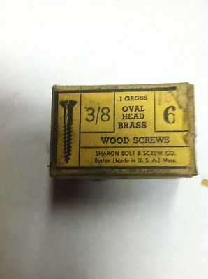 Vintage #6  X 3/8 Inch  OVAL HEAD BRASS SLOTTED WOOD SCREWS-144 PER BOX