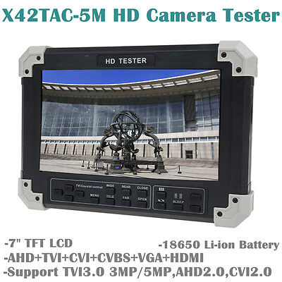 "X42TAC-5M 7""LCD HD-TVI+AHD+CVI+HDMI+CVBS Camera Video CCTV Tester 18650 Battery"