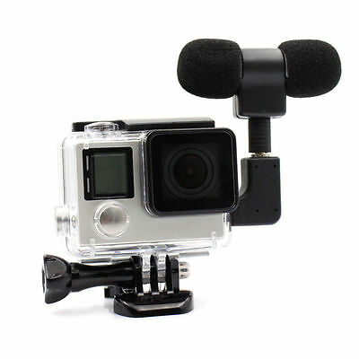 Housing Case + Microphone Adapter Kit External Stereo Mic for GoPro Hero 3 3+ 4