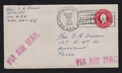Usa 1945 Apo 209 Germany Airmail Ps Cover To Allentown Pennsylvania.