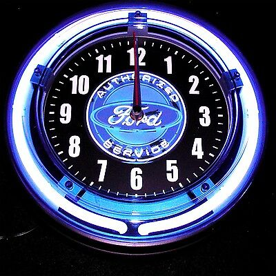 """Ford Authorized Service Neon Logo 11"""" Blue Neon Clock - New !!"""