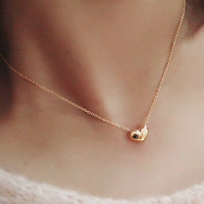 Korean Charm Heart Pendant Long Necklace Chic Yellow Gold Filled Statement