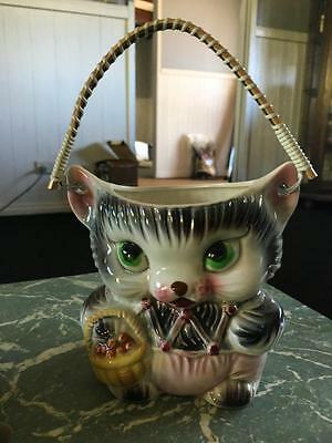 VINTAGE CAT COOKIE JAR - MADE IN JAPAN with Handle - No Lid - VERY COLLECTABLE