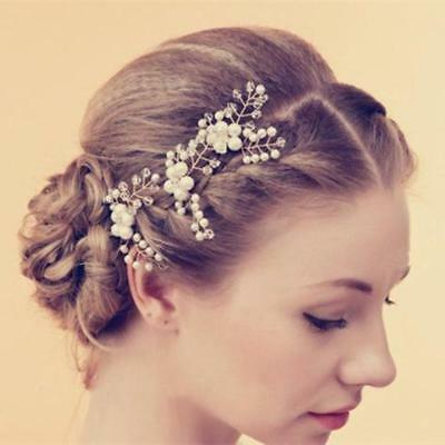 3pcs Wedding Bridal Pearl Flower Crystal Wheat Hair Pins Clips Accessories