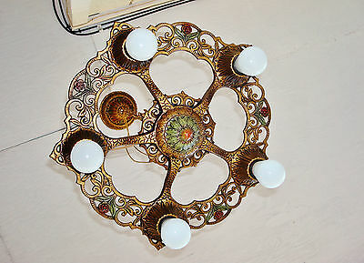 ORIGINAL 1930's VIRDEN Ceiling Light 5 Bulbs Art Nouveau Polychrome Chandelier