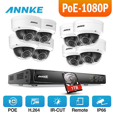 ANNKE 1080P POE Network 8ch 6MP NVR Home Outdoor Surveillance Camera System 1TB