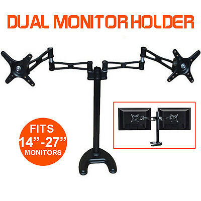 "New Dual 14""-27"" LCD Monitor Holder Stand Mount 2 Arms Hold Two Screens AU Stock"