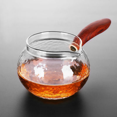 Rosewood Side-handle Glass Cha Hai Gongfu Tea Serving Pitcher Fair Cup 220ml