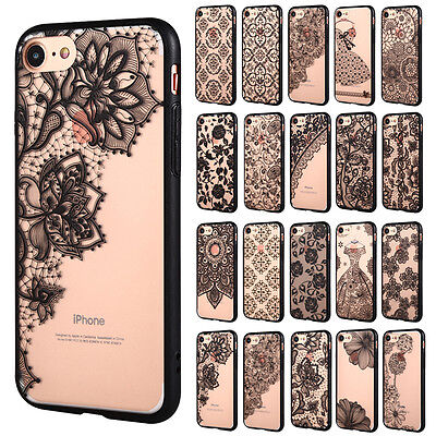 Ultra Thin Clear Lace Flower Print Hard Case Cover for Apple iPhone 7 6 6S Plus