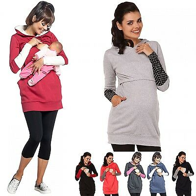 Breastfeeding Clothes Maternity Tops Coat Hoodie Nursing Tops Plus Size S-2XL