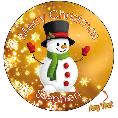 876 Personalised SNOWMAN Christmas Xmas Santa Stickers Present Gift Seal Label