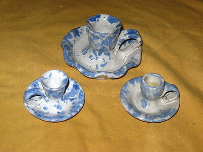 Bybee Pottery Blue Sponged Candle Holders (3)