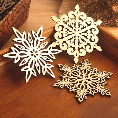 2/6pc Wooden Carved Snowflake XMAS Mug Coasters Holder Coffee Tea Drinks Cup Mat