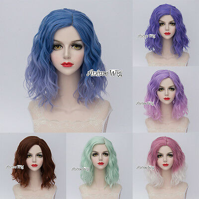 7 Colors Short Fashion 35CM Curly Fashion Party Harajuku Cosplay Wig + Wig Cap
