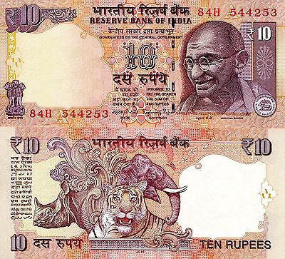 INDIA 10 Rupee Banknote World Paper Money Currency Pick NEW 2014 Letter A Gandhi