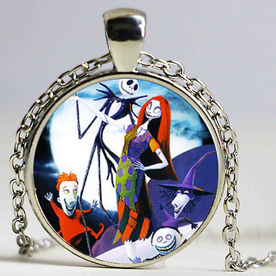 Nightmare Before Christmas Glass Pendant Necklace Jack Skellington & Sally