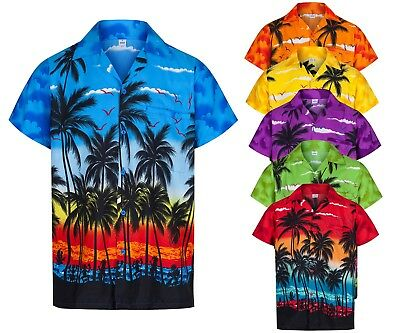 Mens Hawaiian Shirt Aloha Hawaii Themed Party Shirt Holiday Beach Fancy Dress