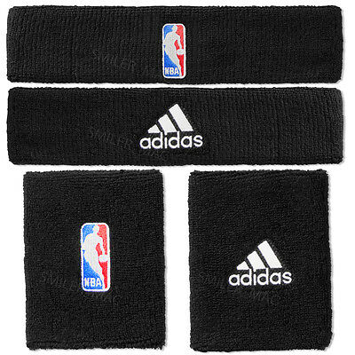 Adidas NBA Headband WristBand Black Running Gym Head Wrist Sweat Bands Sweatband