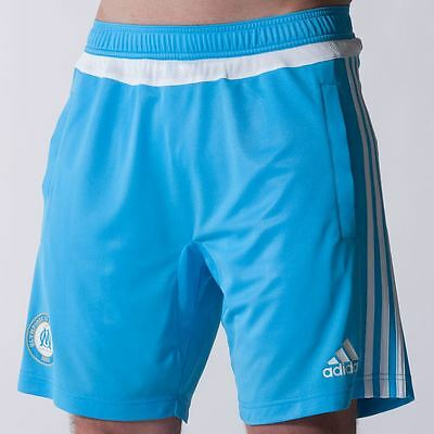 Adidas Mens Olympique de Marseille Training Shorts Om Blue/White Pants Bottoms