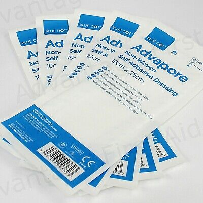 Adhesive Wound Dressings Big Plasters Post Operative 10 x 25cm Advapore. Qty 5