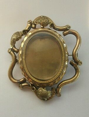 Antique Victorian Pinchbeck large Rotating photoframe Mourning Brooch