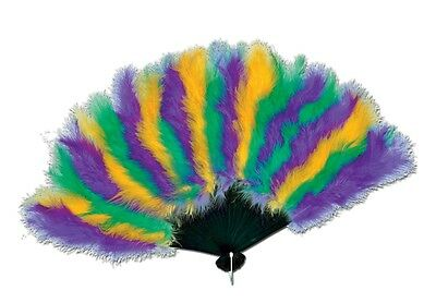 Foldable Mardi Gras Feather Fan - Purple Green Gold fnt