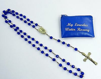 Lourdes Water Rosary with Case Blue Beads Vintage