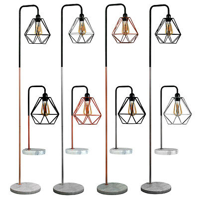 Modern Industrial Table Floor Lamp Marble Base Lounge Light Geometric Shade Home