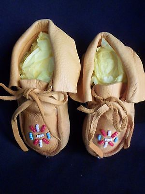 VTG Leather BABY MOCCASINS BEADED HARD SOLE SHOES