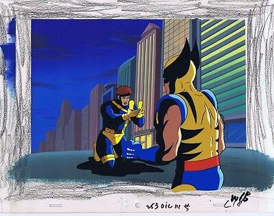 X-Men The Animated Series Original Animation Cel & Hand Painted Bkgd #A11898