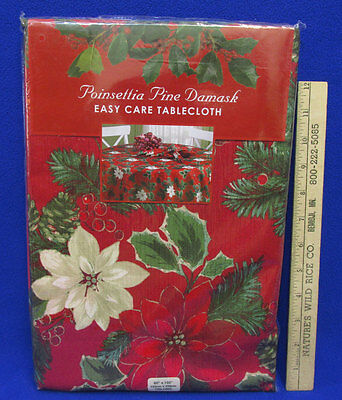 Poinsettia Pine Damask Christmas Tablecloth Red Green Flower Oblong 60 x 102