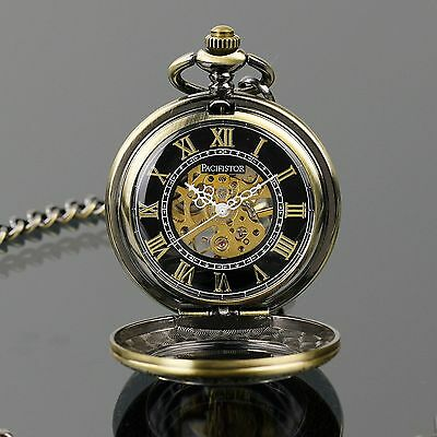 PACIFISTOR Skeleton Mechanical Pocket Watch Engraved Pendant Antique Style Chain