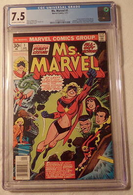 Ms Marvel #1 1977 CGC 7.5 VF- off-white pages, Carol Danvers key issue