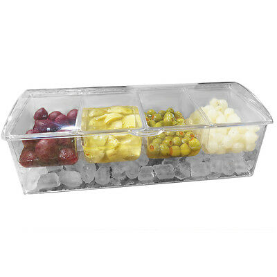 Evelots Chilled Condiment Server W/ 4 Compartments,Removable Containers,Ice Tray
