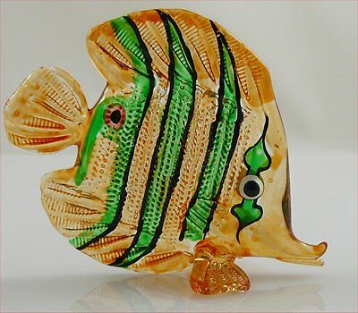 Glass Figurine Fish Tropical Handpainted Orange/Green Butterfly Approx 3.3 inch